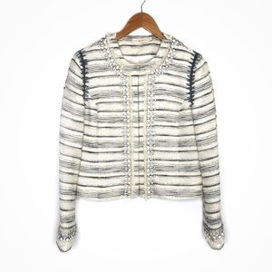 Tory Burch Nicole Embellished Tweed Jacket Beaded